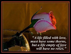 "... thorns but a life empty of love will have no Roses"" ~ Flowers Quote"