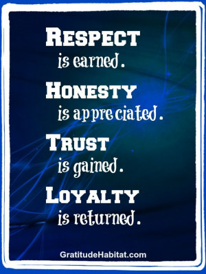 Respect, honesty, trust, loyalty. #inspiration Visit us at: www ...