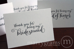 Thank You for Being My Bridesmaid, Maid of Honor, Wedding party ...