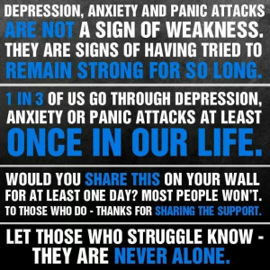 Depression, anxiety and panic attacks.