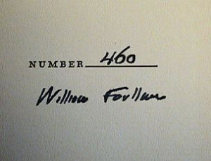 William Faulkner's signature (via www.kruegerbooks.com)