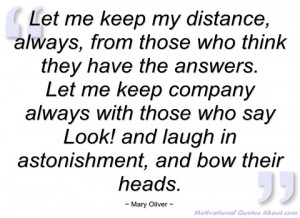 let me keep my distance mary oliver