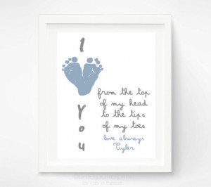 The I Love You Baby Footprint Art is great for a first father's day ...