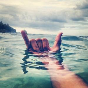 surfing hawaii Shaka