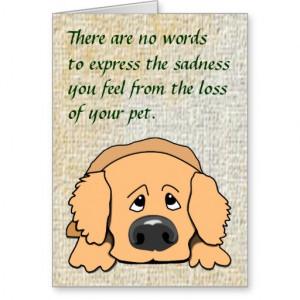 Sad Dog Cartoon Pet Sympathy Card for Loss of Pet