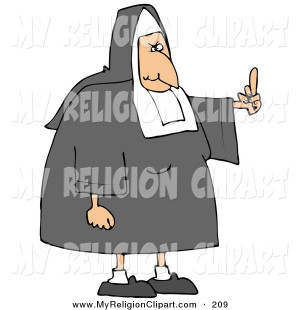 Religion Clip Art of a White Female Nun in Uniform, Flipping Someone ...