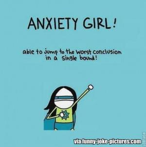 Funny Anxiety Girl Superhero Joke Cartoon   Able to jump to the worst ...