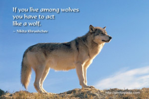 If you live among wolves you have to act like a wolf. ~ Nikita ...
