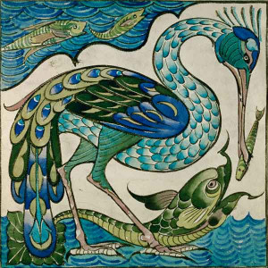 Image: Walter Crane - Tile Design of Heron and Fish