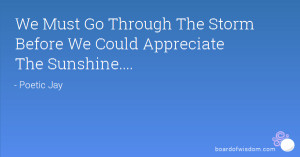 We Must Go Through The Storm Before We Could Appreciate The Sunshine ...