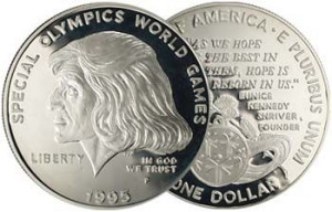 special olympics coins | Special Olympics Silver Dollar 1995 Proof