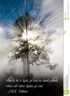 ... and silhouette of pine tree in Yellowstone National Park with Quote