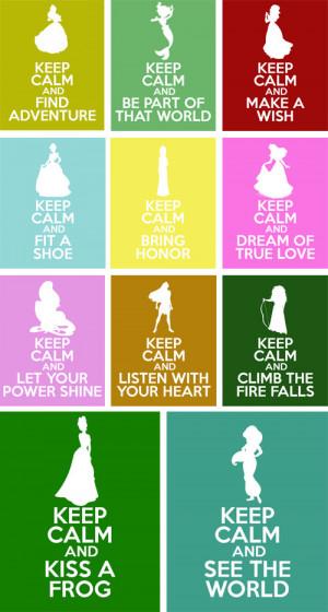 Disney Princesses Keep Calm 8x10 Poster Prints