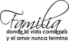 Spanish Wall Saying Quotes- Familia Donde La Vida Comienza Wall Quote ...
