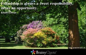 ... always a sweet responsibility, never an opportunity. - Khalil Gibran