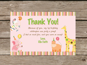 first birthday thank you cards wording