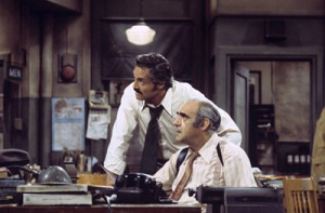 Abe Vigoda and Hal Linden in Barney Miller (1974)