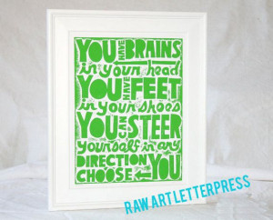 11x14 You Have Brains in Your Head Quote Cubicle Decor, Back to School ...