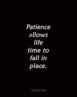 Patience allows life time to fall in place.