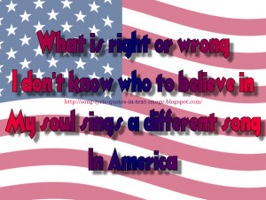 In America - Creed Song Lyric Quote in Text Image
