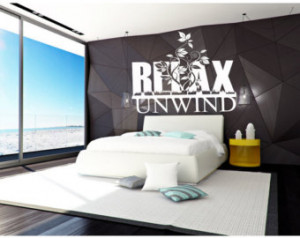Relax & Unwind Bedroom Wall Quote D ecor Art ...