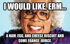 Madea dinner party theme: all the food is labeled like Madea would say ...