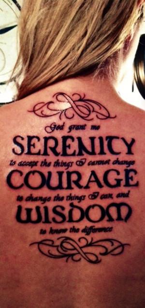 Bold Serenity Prayer Tattoo