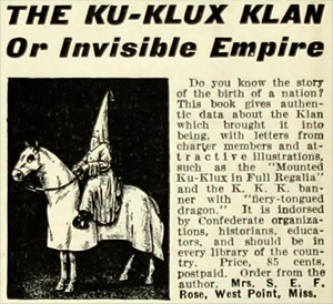 Advertisement for The Ku Klux Klan or Invisible Empire