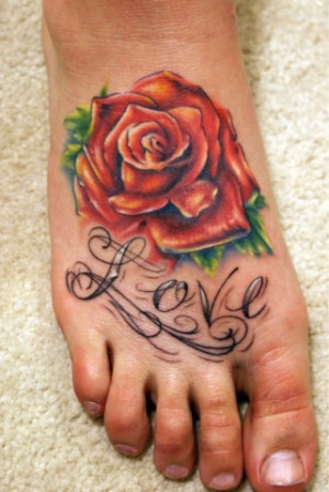 home tattoos on feet red rose and love quote tattoo on feet