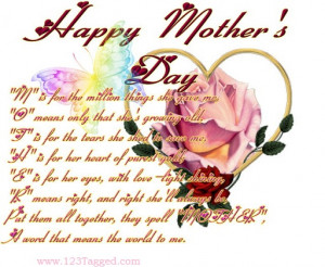 Mothers Day Quotes Comment Codes for Friendster & Tagged