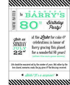 80th Birthday Party Invitations - Women's - Art Nouveau - Customized ...