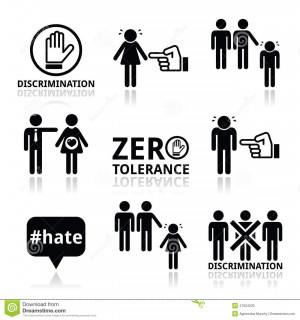 Vector icons set - zero tolerance for discrimination signs isolated on ...
