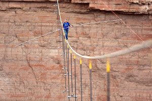 Aerialist Nik Wallenda walks a two-inch-thick steel cable taking him a ...