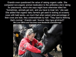Temple Grandin quote about livestock.
