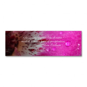 Pink Orchid Garden Sayings Bookmarks Business Card Templates
