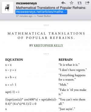 Mathematical Translations of Popular Refrains