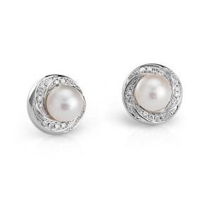 14K Gold Diamond and Pearl Stud Earrings