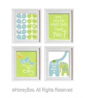 Lime green aqua blue room decor, love quote, elephants, birds ...