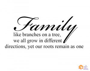 Family, like branches in a tree, we all grow in different directions ...