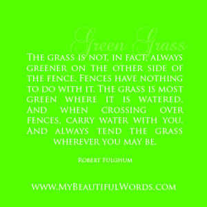 the grass is not in fact always greener on the other side of the fence ...