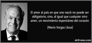 ... otro amor, un movimiento espontáneo del corazón (Mario Vargas Llosa