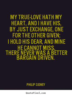 Quotes about love My true love hath my heart and i have his by