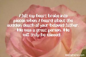 felt my heart broke into pieces when I heard about the sudden death ...