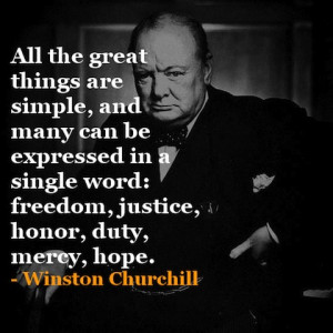 all great things are simple Winston Churchill Picture Quote