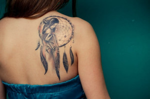 Dream Catcher Tattoo With Quote Dream catcher tattoo with