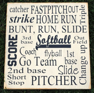 Softball Collage Vinyl Wooden Subway Art Sign 12 by HDVinylDesigns, $ ...