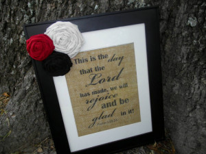 Rejoice In The Lord Burlap Wall Art : Quote, Rustic, Typography ...