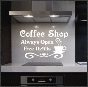 ... Coffee Shop Always Open Cup Decal Vinyl Wall Lettering Quotes | eBay