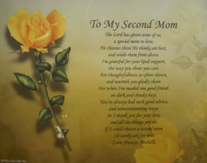 ... SECOND MOM PERSONALIZED POEM GIFT IDEA FOR STEP-MOM YELLOW ROSE PRINT