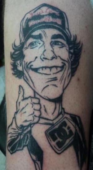 Travis Pastrana caricature tattoo